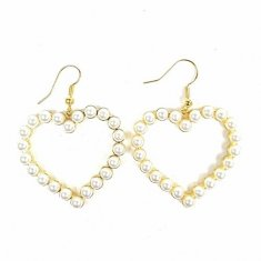 A-TT-74 White Pearls Love Dagling Hook Earrings Malaysia