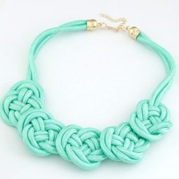 C10042498 Mint Green Twisted Ribbon Statement Necklace