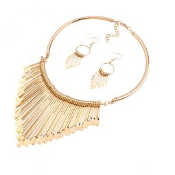 A-QD-N3586-R Golden Strips Elegant Statement Necklace