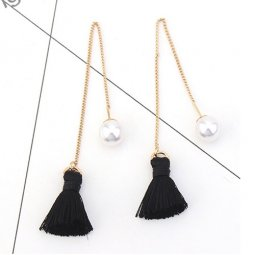 P126917 Black Gold White Bead Korean Inspired Linked Earstuds