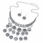 C110514104 Antique silver moon dangling necklace & earrings set