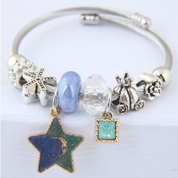 C0150706153 Silver with Blue Green Star Beads Adjustable Bangle