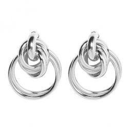 A-FX-E3199silver Silver Dangling Circles Trendy Earstuds Shops