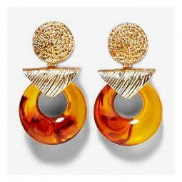 A-MY-za2019A Flaming Orange Marble Circle Boho Statement Earring