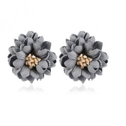 A-MY-1030200101GREY PETALS FLOWER MINE EARSTUD