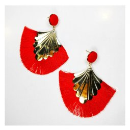 A-FX-E6653red Red Tassel Mermaid Inspired Gold Holder Earrings