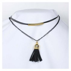 A-Tattoo-009 Feather Tassel Charm Choker Necklace Fashion Shop