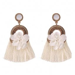 A-FF-E3182white White Tassel & Fabric Flower White Gem Glam Earr