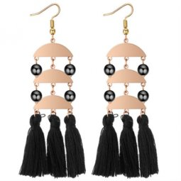 P132212 Gold Plated Black Tassel With Black Beads Hook Earrings