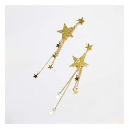 A-FX-E6643 Glitter Gold Shooting Star Long Dangling Charm Earrin