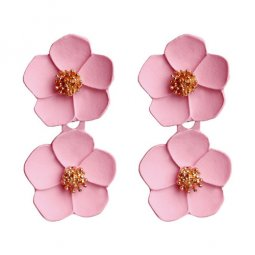 A-FX-6491P Light Pink Double Spring Flowers Fashion Earstuds