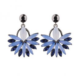 A-CJ-CZ8271 Blue Flower Diamonds Black Korean Fashion Earstuds
