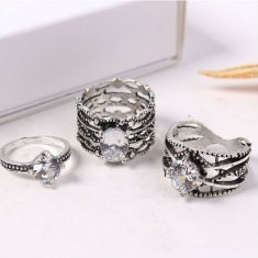 P131408 3 Silver Ring Set Crystal Stone Cool Chunky Rings Shop