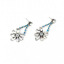 A-MLSF-1630 BLUE SILVER FLOWER DIAMOND EARSTUDS