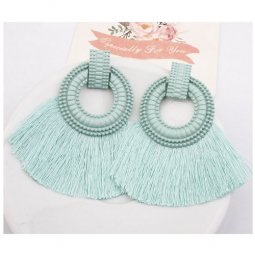 A-SD-XL113251mintgreen Mint Green Blue Tassels Vogue Earstuds