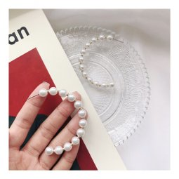 A-TT-81PEARLS White Pearls Semi Ring Trendy Korean Earstuds