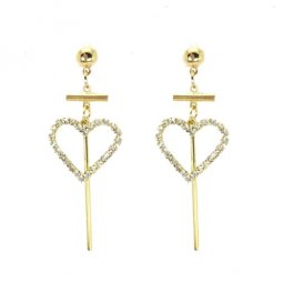 A-LG-ER0279(301) Korean Style Crystal Heart Dangling Earstuds