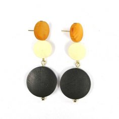 A-TT-632 Brown Peach Black Wooden Classic Earstuds Malaysia