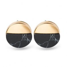A-JW-6962 Black Circle Marble Gold Side Trendy Fashion Earstuds