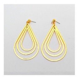 B-MLSF-006 Gold Three Layer Oval Shape Elegant Earstuds Earrings