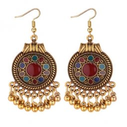 P131307 Colourful Pattern Gold Vintage Tangling Hook Earrings
