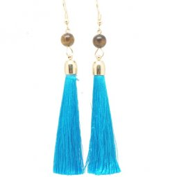 P127493 SkyBlue Tassel Dangling Bohemian Hook Earrings