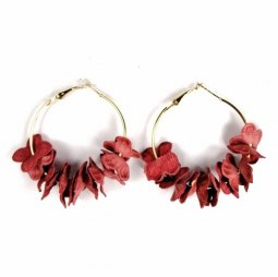 A-DW-5300mar Maroon Flowery Simple Hoop Earrings