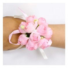 A-GF-pink2 Soft Pink Roses Flower Bracelet Pearl Studded Ribbons
