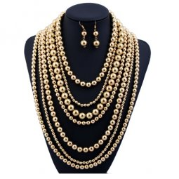 A-H2-100X012 Gold Layer Elegant Middle Long Necklace & Earrings