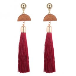 P128365 Geometry Moon Wooden Red Tassel Earstuds