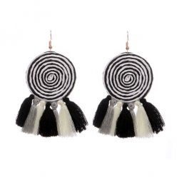 A-HY-E042(wooden)black Twirling Circle Mix Tassel Black Earrings