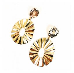 A-SD-XL112208 Wavy Oval Gold Crinkle Statement Pieces Earstuds
