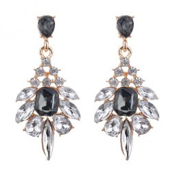 A-CJ-CZ8268 Black White Clear Diamonds Elegant Korean Earstuds