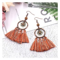 A-HH-HQEF1246brown Brown Nude Mix Tassel Dreamcatcher Style Earr