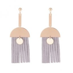 P133676 Grey Rubber Tassels Gold Semicircle Dangling Korean Ears