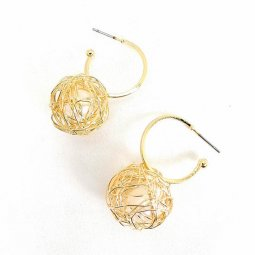 A-GH-ONNUTO-round Gold Wire Ball Korean Modern Fashion Earrings
