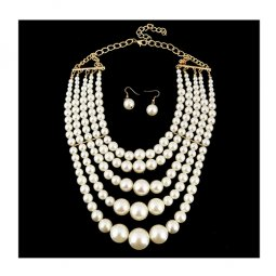 A-h2-100X063 Massive Elegant Pearls Necklace 5 Layers