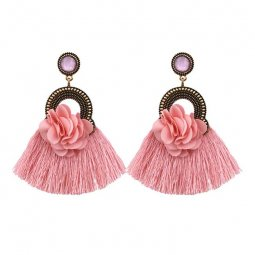A-FF-E3182dusty Dusty Pink Tassel & Fabric Flowers Gem Earrings