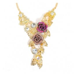 A-CJ-9297 Classic Elegant Crystal Rose Emblem Gold Necklace