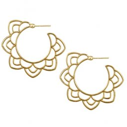 A-YG-sku5685 Gold Flora Round Ring Korean Inspired Earstuds