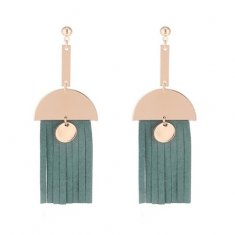 P133675 Green Rubber Tassels Gold Semicircle Dangling Korean Ear