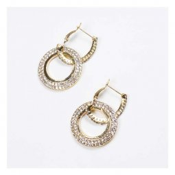 A-FX-E6111 Double Hoop Crystal Studded Gold Rings Korean Earring