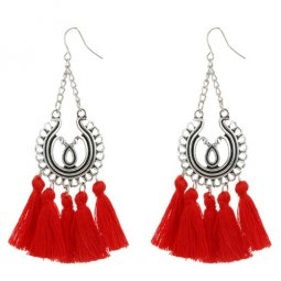 A-YG-4600red Antique Silver Elegant Red Tassel Hook Earrings