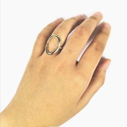 A-TT-B902 Gold Oval Circle Centre Rings Elegant Formal Style