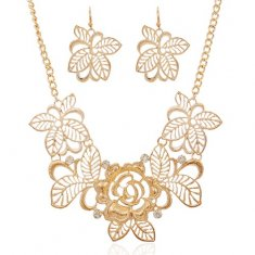 A-SJQ-T299 Gold spring flower delicate choker necklace & earring