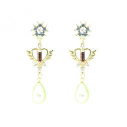 A-LG-ER0574 Crystal Love Pink Wings Pearl Bead Korean Earstuds