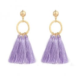 A-YG-sku5506pur Purple Tassel Gold Ring Earstuds Wholesale Shop