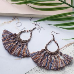 A-KJ-E020960mix Mix Colourful Vintage Moon Tassel Earrings