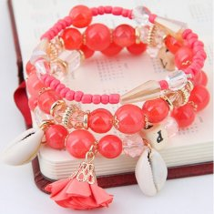 C0150805178 Red Beads Elastic Charm Bracelet Accessories Shop