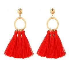 A-YG-sku5506red Red Tassel Gold Ring Bohemian Earstuds Malaysia